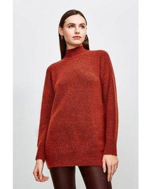 Karen Millen Super Soft And Cosy Longline Roll Neck Jumper -, Orange