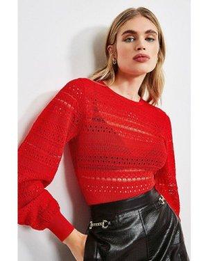 Karen Millen Pointelle Knit Jumper -, Red
