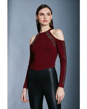 Karen Millen Hot Fix Stud Cold Shoulder Jumper -, Red