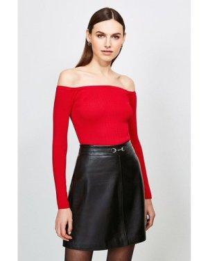 Karen Millen Long Sleeve Knitted Rib Bardot Top -, Red