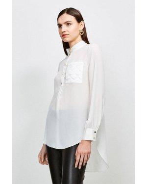 Karen Millen Quilted Pocket Detail Blouse -, Ivory