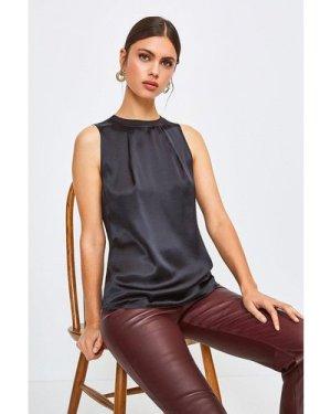 Karen Millen Silk Satin Sleeveless Shell Top -, Black
