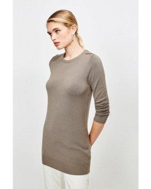 Karen Millen Trim Detail Knitted Tunic -, Sage