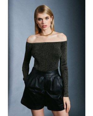 Karen Millen Sparkle Knit Rib Long Sleeve Bardot Top -, Black