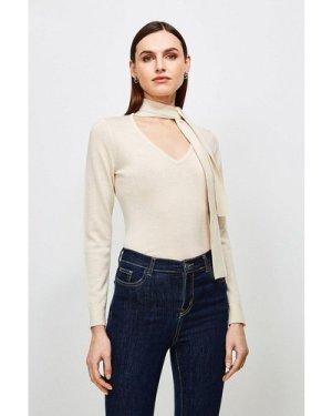 Karen Millen Merino Wool Tie Neck Jumper -, Ivory