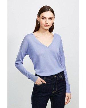 Karen Millen Merino Wool V-Neck Longline Jumper -, Blue