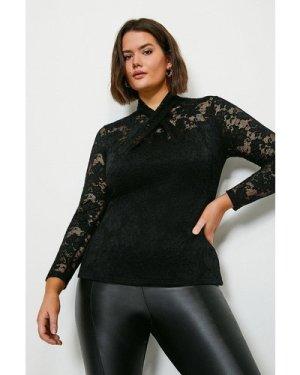 Karen Millen Curve Twist Neck Stretch Lace Jersey Top -, Black