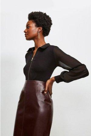 Karen Millen Collared Viscose Jersey Elastane Shirt -, Black