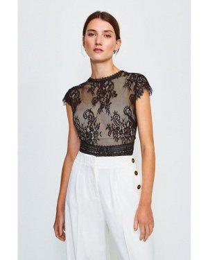 Karen Millen Short Sleeved Open Back Lace Body -, Black