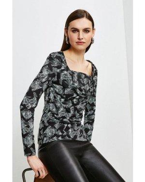 Karen Millen Printed Jersey Cowl Layered Top -, Animal