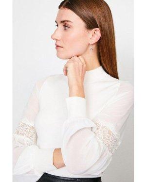 Karen Millen Sheer Sleeve Lace Knitted Top -, Ivory