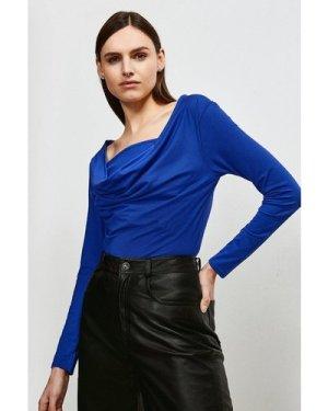Karen Millen Jersey Cowl Layered Top -, Blue