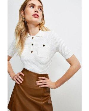 Karen Millen Texture Knit Polo Top -, Ivory