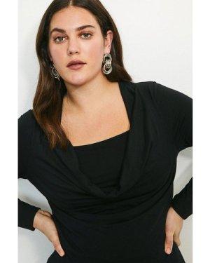 Karen Millen Curve Viscose Jersey Cowl Layered Top -, Black