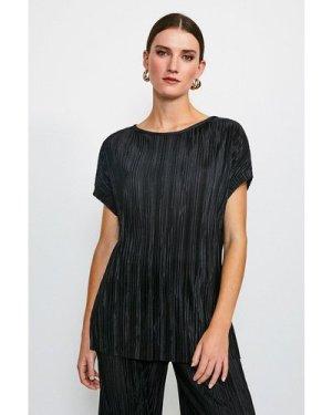 Karen Millen Lounge Plisse Batwing T-Shirt -, Black