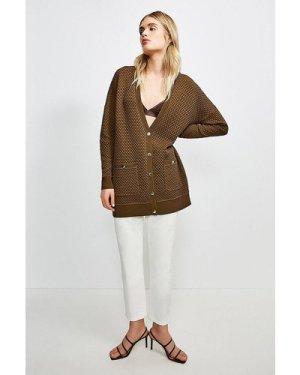 Karen Millen Texture Knit Slouchy Cardigan -, Olive