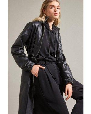Karen Millen Luxe Multi Stitch Hooded Top -, Black