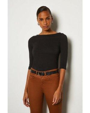 Karen Millen Cotton Jersey Slash NeckT-Shirt -, Black