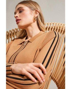 Karen Millen Stripe Trim Milano Zip Through Cardigan -, Camel