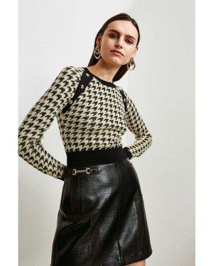 Karen Millen Textured Jacquard Knitted Jumper -, Cream