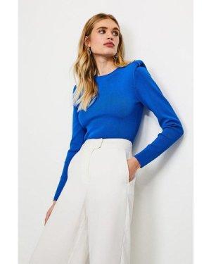 Karen Millen Tuck Shoulder Roll Neck Jumper -, Blue