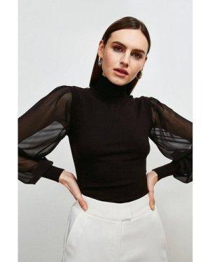 Karen Millen Georgette Sleeve Knit Jumper -, Black