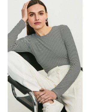 Karen Millen Stripe Ribbed Jersey Body -, Black