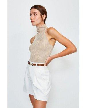 Karen Millen Knitted Rib Roll Neck Sleeveless Top -, Brown