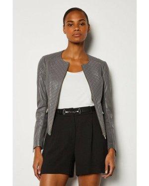Karen Millen Leather Quilted Biker Jacket -, Grey