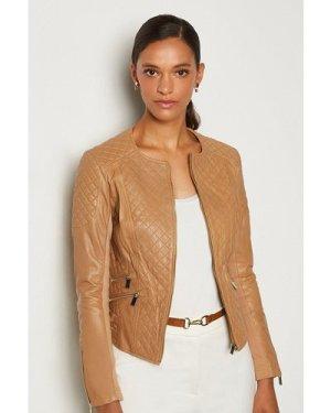 Karen Millen Leather Quilted Biker Jacket -, Tan