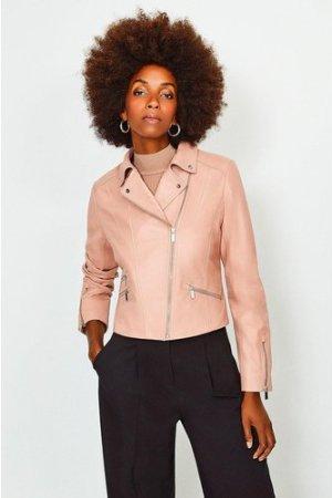 Karen Millen Leather Signature Biker Jacket -, Pink