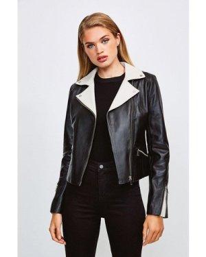 Karen Millen Leather Monochrome Signature Biker Jacket -, Black