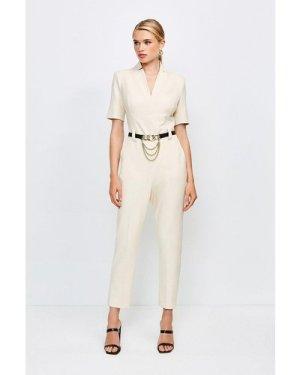 Karen Millen Forever Chain Belt Jumpsuit -, Cream