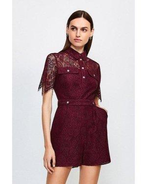 Karen Millen Lace Short Sleeved Playsuit -, Red