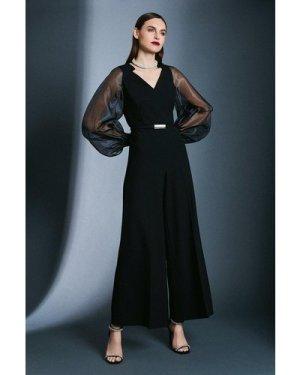 Karen Millen Structured Crepe Sheer Sleeve Jumpsuit -, Black