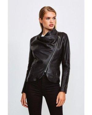 Karen Millen Leather and Ponte Envelope Neck Biker Jacket -, Black