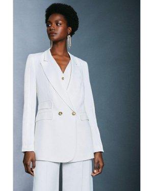 Karen Millen Satin Back Crepe Tux Jacket -, Ivory