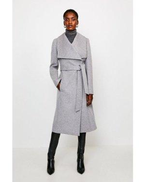Karen Millen Italian Wool Blend Shawl Collar Coat -, Grey