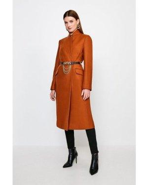 Karen Millen Notch Neck Chain Belt Coat -, Orange