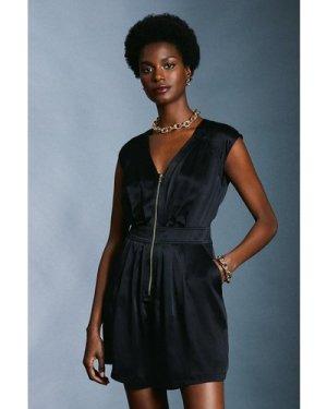 Karen Millen Luxe Silk Sand Wash Playsuit -, Black