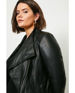 Karen Millen Curve Leather and Ponte Envelope Neck Biker Jacket -, Black