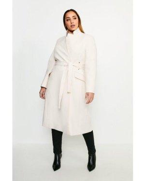 Karen Millen Curve Compact Stretch Notch Neck Belted Coat -, Cream