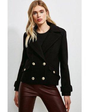 Karen Millen Wool Pea Coat -, Black