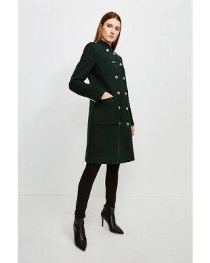 Karen Millen Military Double Breasted Wool Coat -, Bottle Green