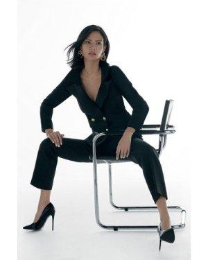 Karen Millen Label Italian Stretch Wool Blend DB Jacket -, Black