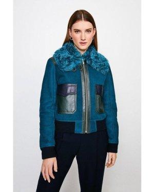 Karen Millen Shearling Collar Zip Front Jacket -, Blue