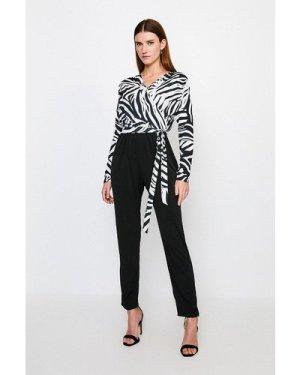 Karen Millen Zebra Wrap Jersey Jumpsuit -, Black