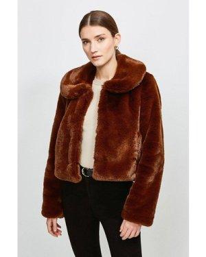Karen Millen Round Collar Cropped Faux Fur Jacket -, Choc Brown
