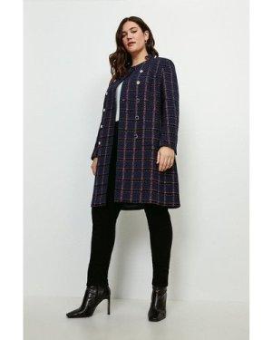 Karen Millen Curve Italian Tweed Double Breasted Coat -, Navy