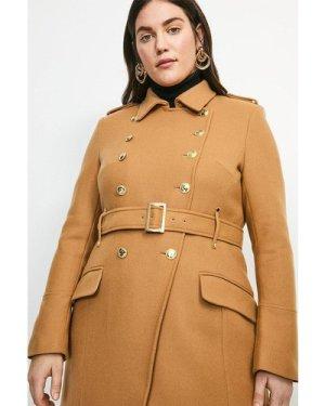 Karen Millen Curve Italian Wool Blend Trench Coat -, Camel